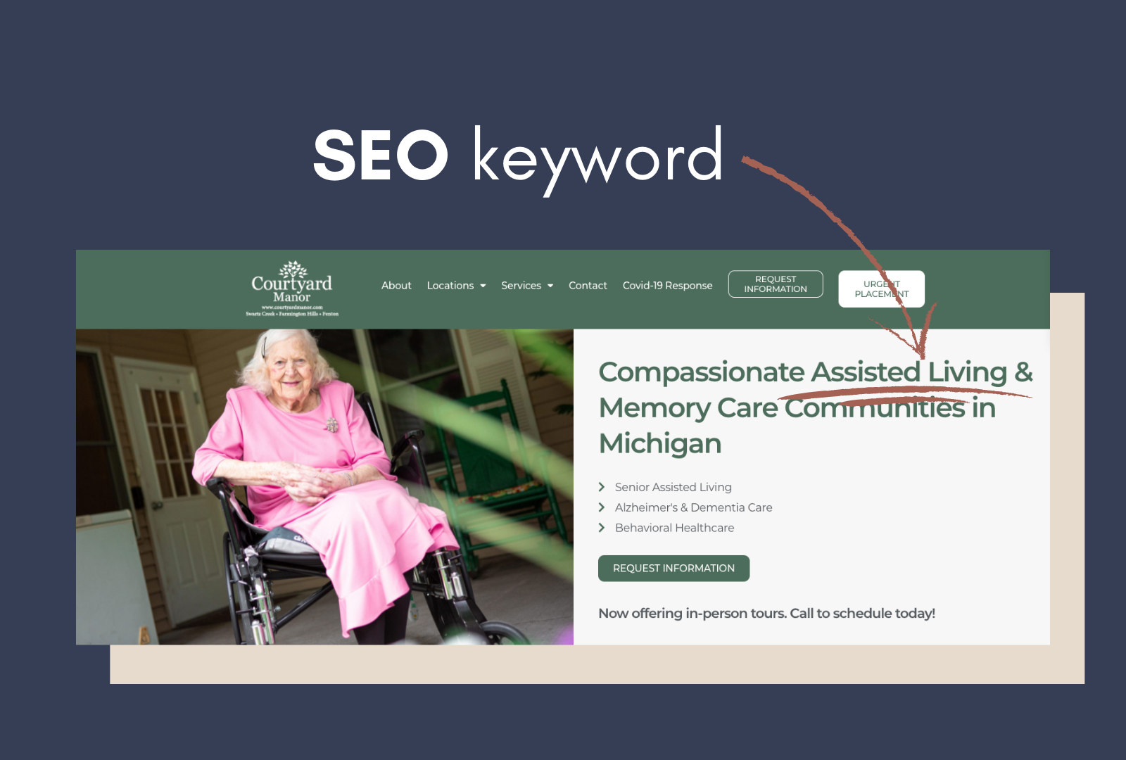 Reference of SEO on Courtyard Manor website